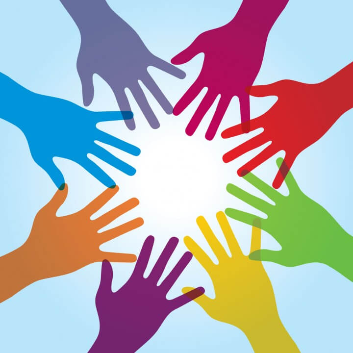 Human arms around colorful and next. Concept of coperação and helps volunteers and human diversity