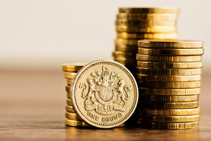 pound GBP coin and gold money on the desk