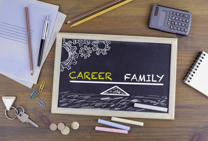 Career and Family Balance. Chalkboard on wooden office desk